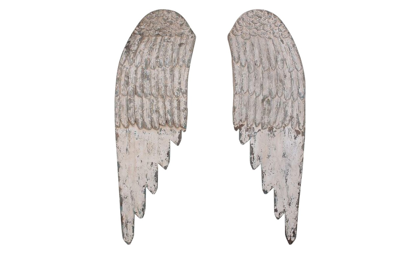 Wooden Angel Wings Wall Art White 2pc - 3R Studios - image 1 of 2