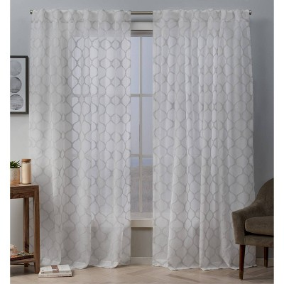 Bradford Sheer Woven Ogee Embellished Hidden Tab Top Curtain Panel Pair - Exclusive Home