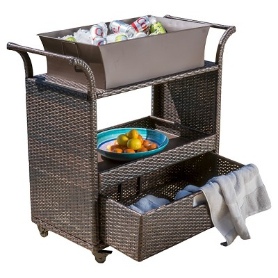 Ravenna Wicker Patio Bar Cart with Ice Bin - Brown - Christopher Knight Home
