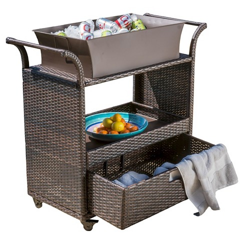 Ravenna Wicker Patio Bar Cart with Ice Bin - Brown - Christopher Knight Home - image 1 of 4