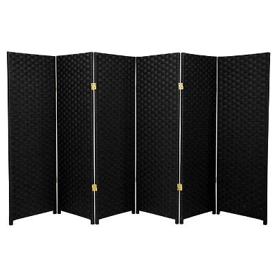 4 ft. Tall Woven Fiber Room Divider - Black (6 Panels)- Oriental Furniture
