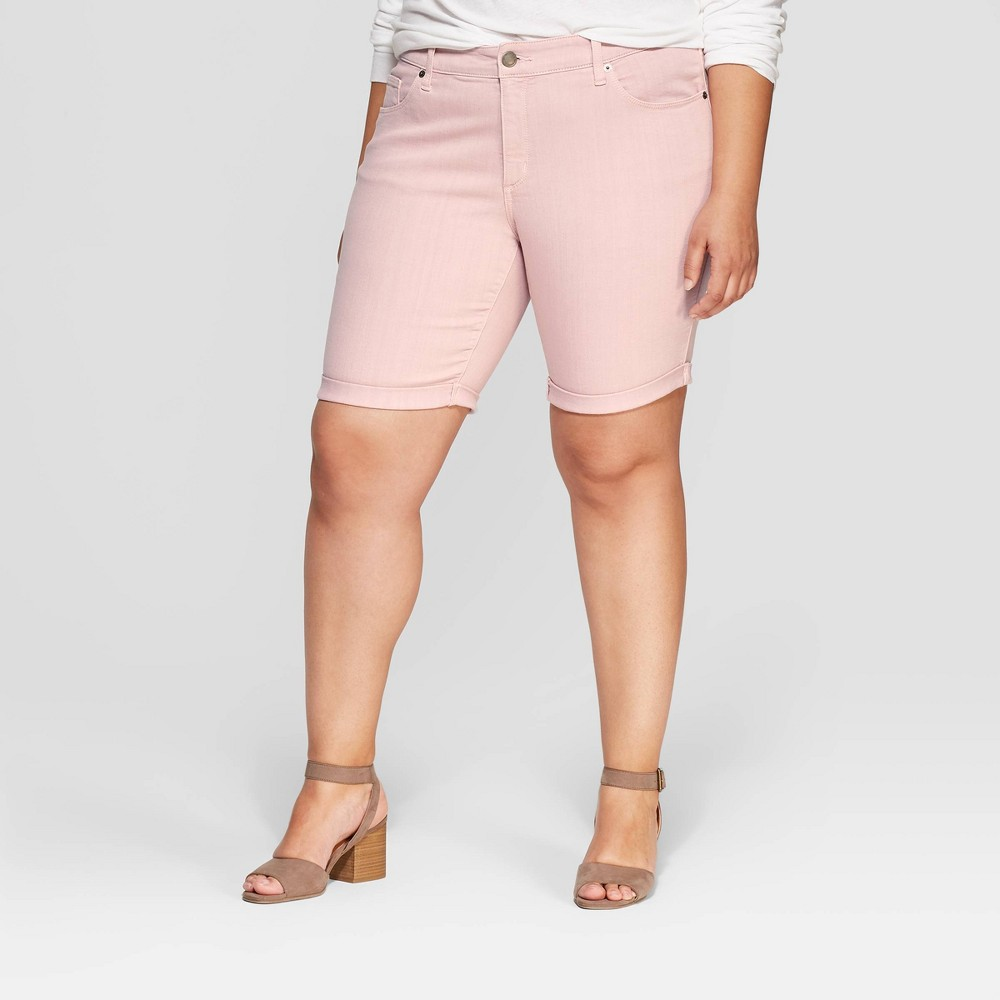 Women's Plus Size Mid-Rise Jean Shorts - Universal Thread Pink 16W