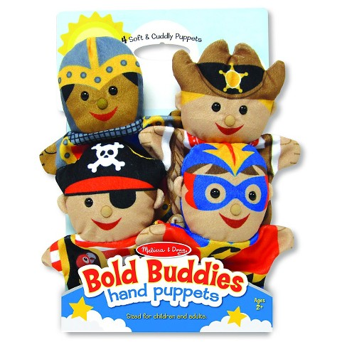 Melissa & Doug® Bold Buddies Hand Puppets (Set of 4) - Knight, Pirate, Sheriff, and Superhero - image 1 of 5