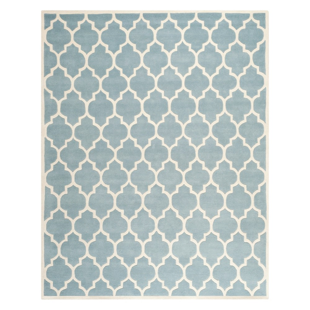 Quatrefoil Design Tufted Area Rug Blue/Ivory
