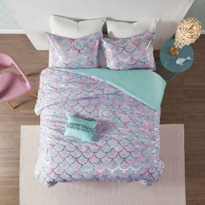 Daphne Metallic Printed Reversible Duvet Cover Set Aqua/Purple