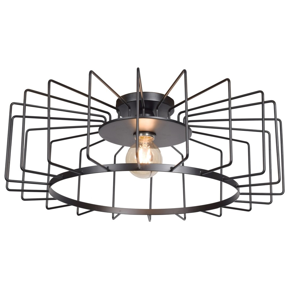 Access Lighting Wired Horizontal Cage Flush Mount Shade Ceiling Lights Black