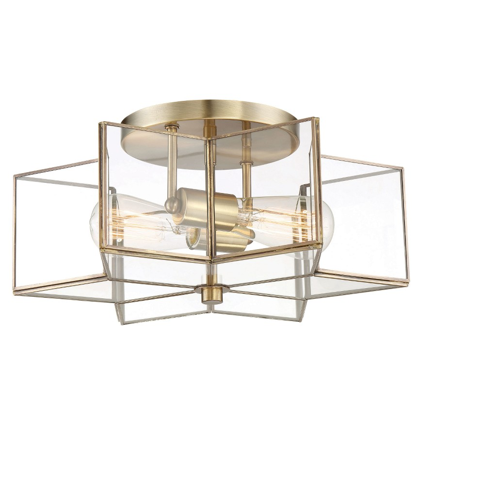 Ceiling Lights Semi-Flush Mount Natural Brass - Aurora Lighting, Clear