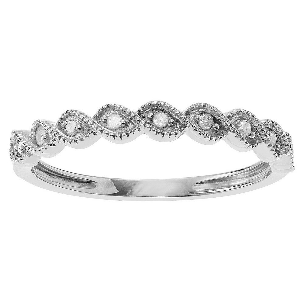 1/10 CT. T.W. Round-Cut Diamond Wedding Pave-Set Ring in Sterling Silver (HI-I3) - Silver (9), Girl's