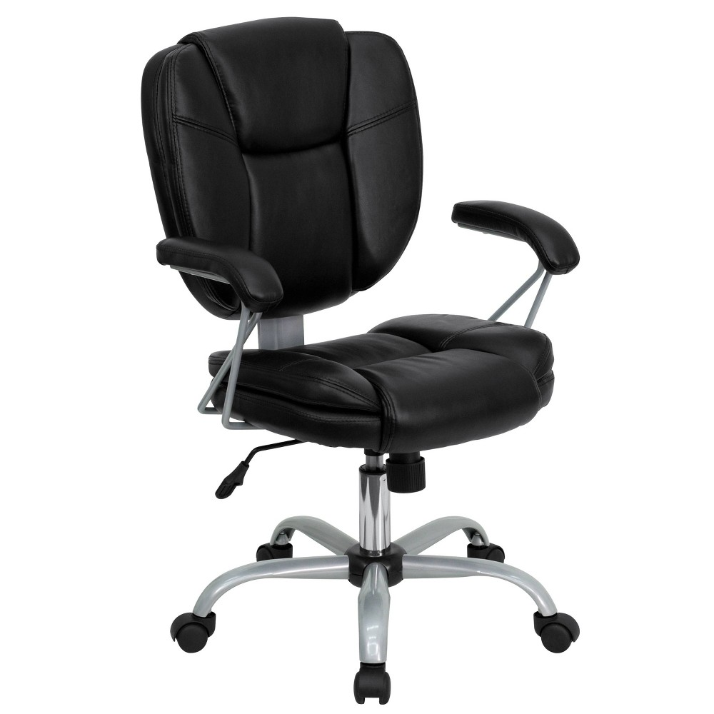 Image of Mid-Back Black Leather Swivel Task Chair - Belnick