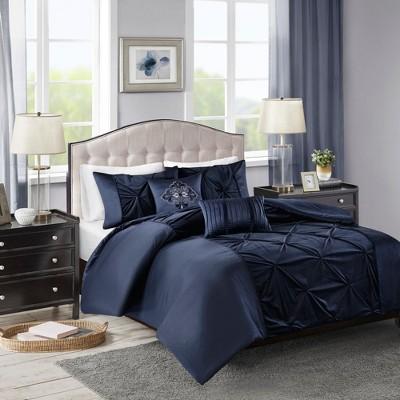 5pc Queen Sondra Velvet Comforter Set Navy