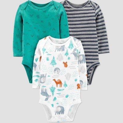 Baby Boys' 3pk Organic Cotton Forest Animals Long Sleeve Bodysuit - little planet organic by carter's Green 9M