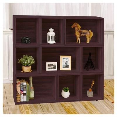 Bon Way Basics Oxford 9 Stackable Cubes Storage   Modular Bookcase, Espresso    Lifetime Guarantee : Target