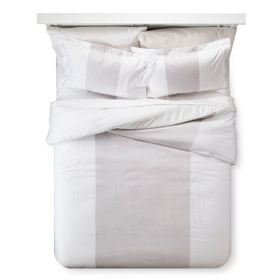 Embroidered Band Comforter & Sham Set (King)Gray&White 3pc - Fieldcrest™