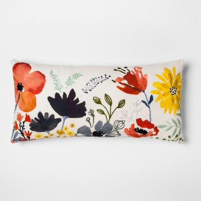 Watercolor Floral Lumbar Throw Pillow - Threshold™