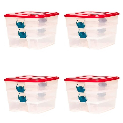 Homz 3-in-1 Organizer Clear Storage Container Bin w/ Security Latches (4 Pack) - image 1 of 2