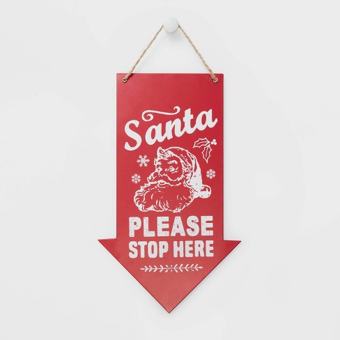Christmas Arrow.Santa Please Stop Here Arrow Christmas Sign Red Wondershop