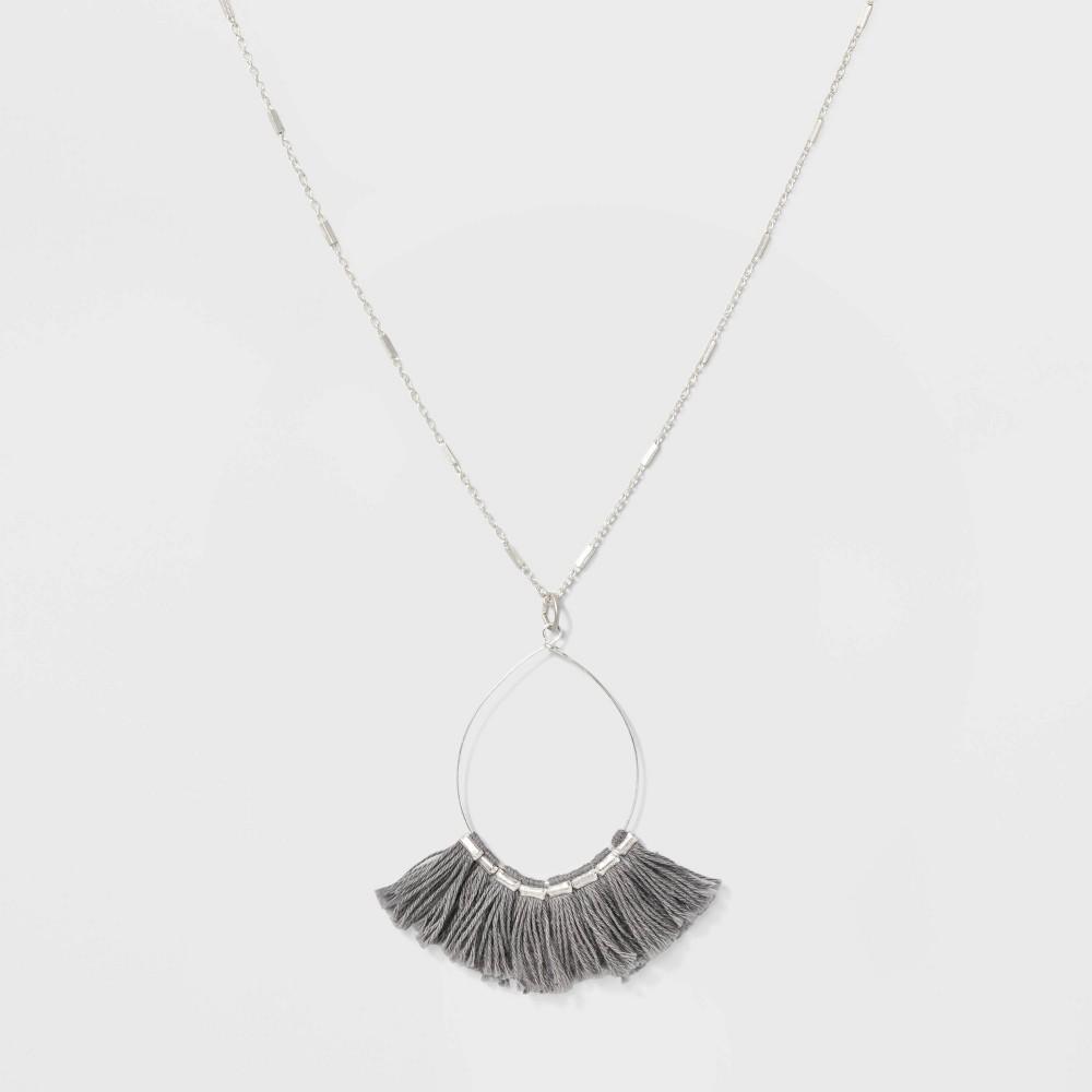 Wire Fan Tassel Necklace - Universal Thread Gray