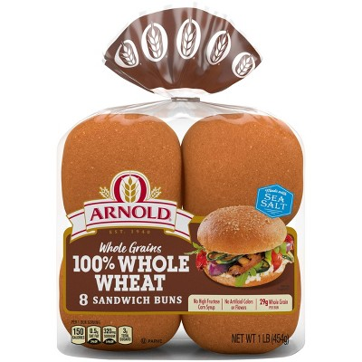 Arnold Select Whole Wheat Hamburger Buns - 16oz/8ct