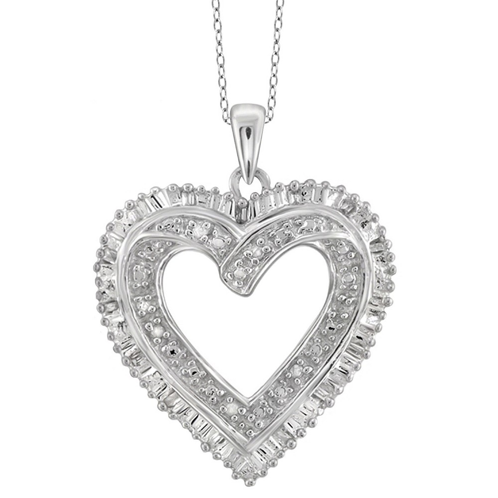 "Image of ""1/10 CT. T.W. Baguette and Round-Cut White Diamond Prong Set Heart Pendant - White (18""""), Women's, Size: Small"""