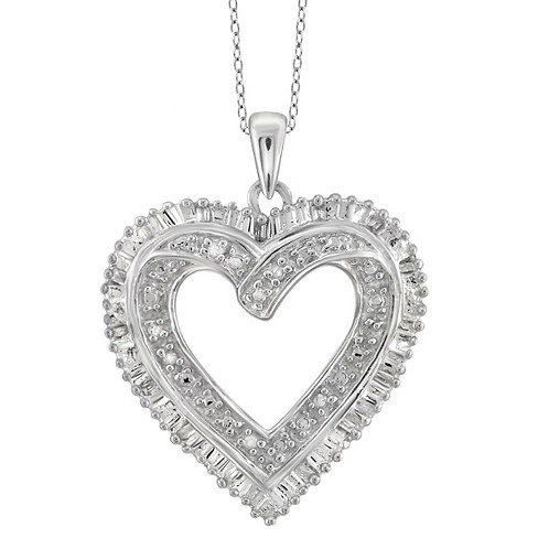 "1/10 CT. T.W. Baguette and Round-Cut White Diamond Prong Set Heart Pendant (18"") - image 1 of 2"
