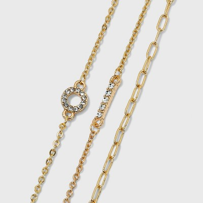 Crystal and Chain Anklet Trio Set - A New Day™ Gold