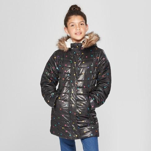 1c252501ff7c Girls  Long Printed Puffer Jacket - Cat   Jack™ Black   Target