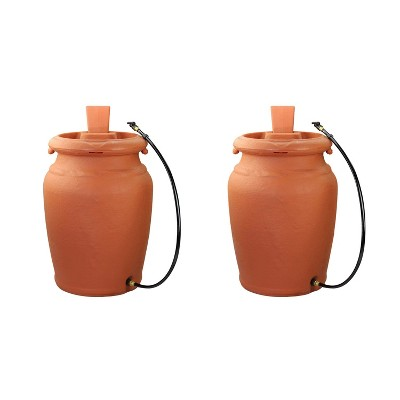 FCMP Outdoors US4000-TC Heavy Duty Urn Style 45 Gallon Garden Rain Barrel Collector with Planter and Hose (2 Pack)