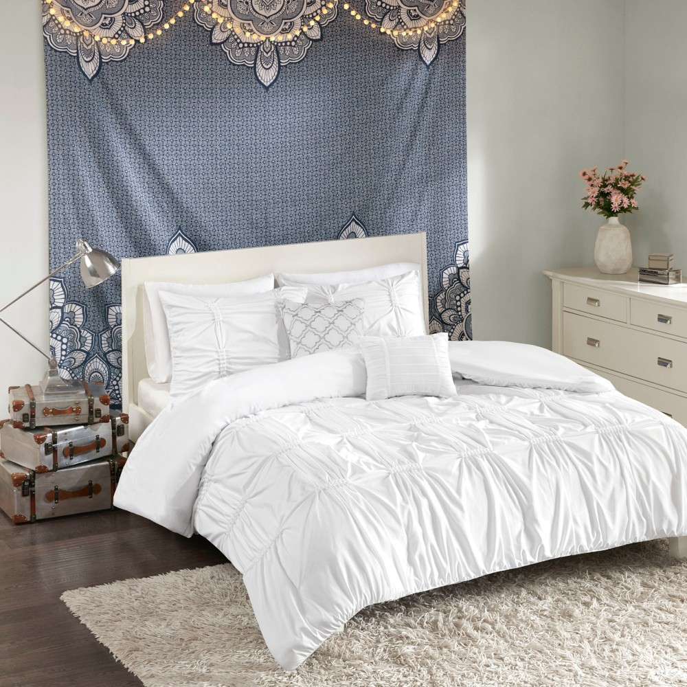 4pc Twin/Twin XL Rory Duvet Cover Set White