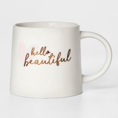 16oz Porcelain Hello Beautiful Mug White - Threshold™