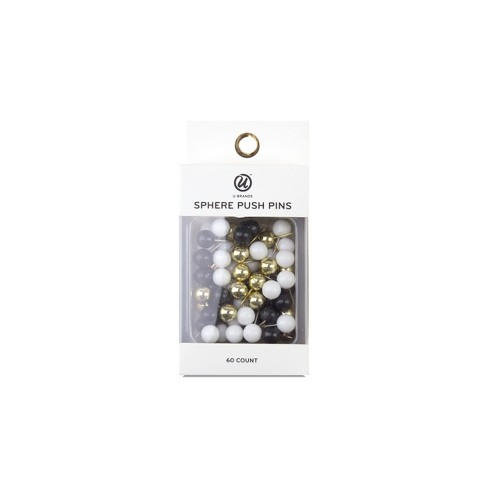 ubrands sphere push pins 60ct black white copper target