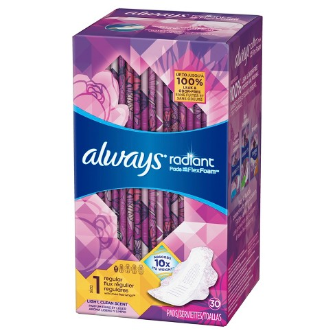 Always Radiant Regular Scented Pads With Wings - Size 1 - 30 - image 1 of 7