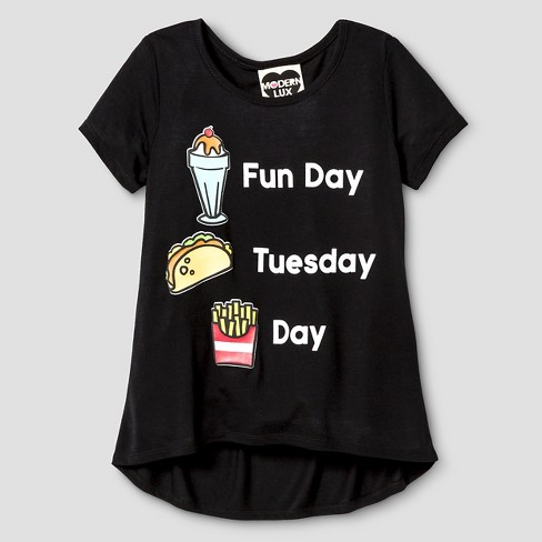 Modern Lux Girls' Fun Day Patches T-Shirt - Black - image 1 of 1