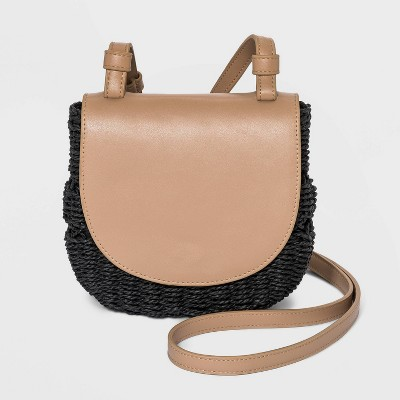 Magnetic Closure Straw Flap Crossbody Bag - A New Day™
