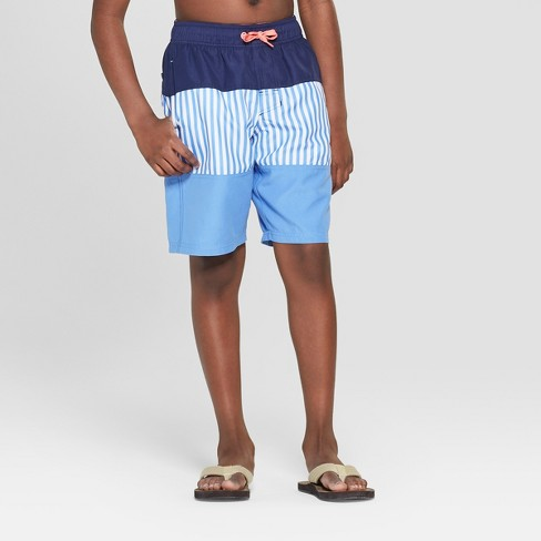 Boys' Color Block Swim Trunks - Cat & Jack™ Blue - image 1 of 3