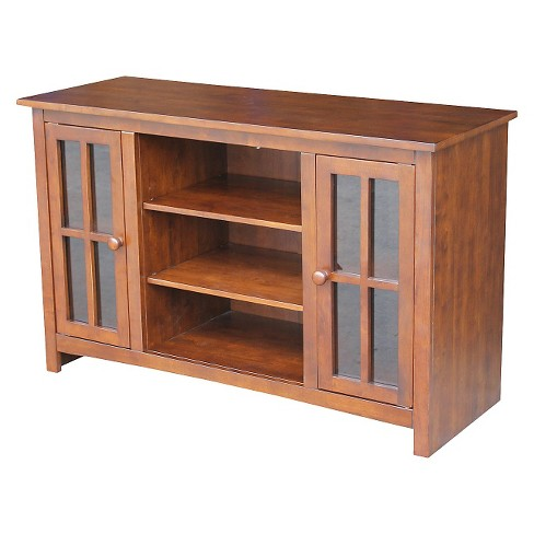 Entertainment Tv Stand With 2 Doors Brown 48 International