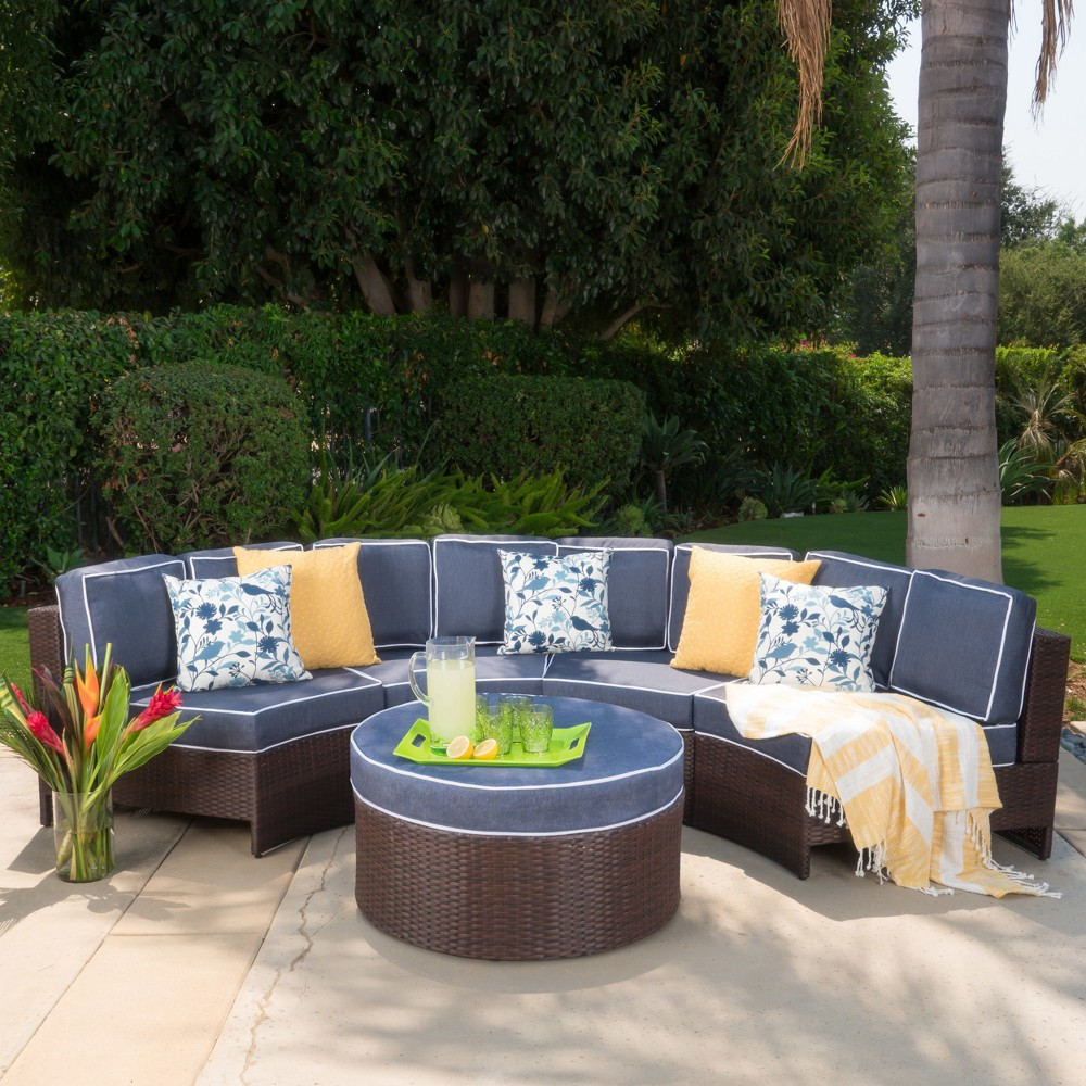 Madras Saint Luca 5pc Wicker 1/2 Round Seating Set with Ottoman - Brown/Navy (Brown/Blue) - Christopher Knight Home