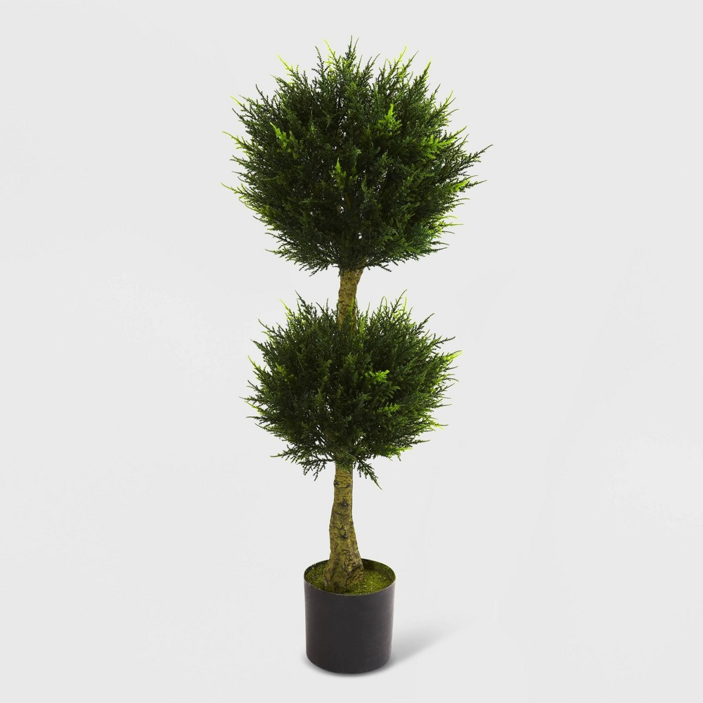4ft Double Ball Cypress Topiary UV Resistant - Nearly Natural, Green