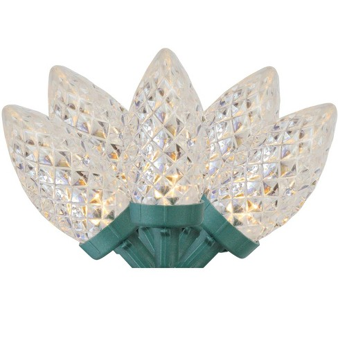 Northlight 100ct Faceted Led C7 Christmas Lights Warm White 66 Green Wire