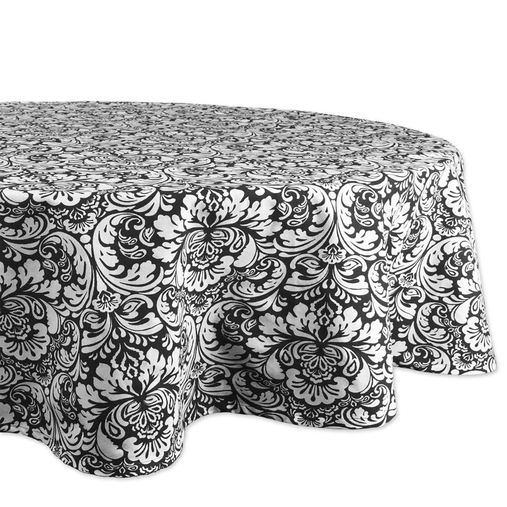 70''R Damask Tablecloth Black - Design Imports