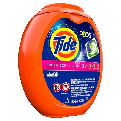 Tide Pods Fresh Coral Blast Liquid Detergent Pacs - 81ct