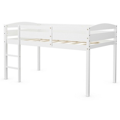 Costway Twin Low Loft Bunk Junior Bed Bedroom Wooden Guard Rail Ladder White\Espresso