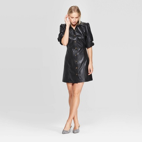 Women's Puff Elbow Sleeve Collared Button-Up A Line Mini Dress - Who What Wear™  - image 1 of 3