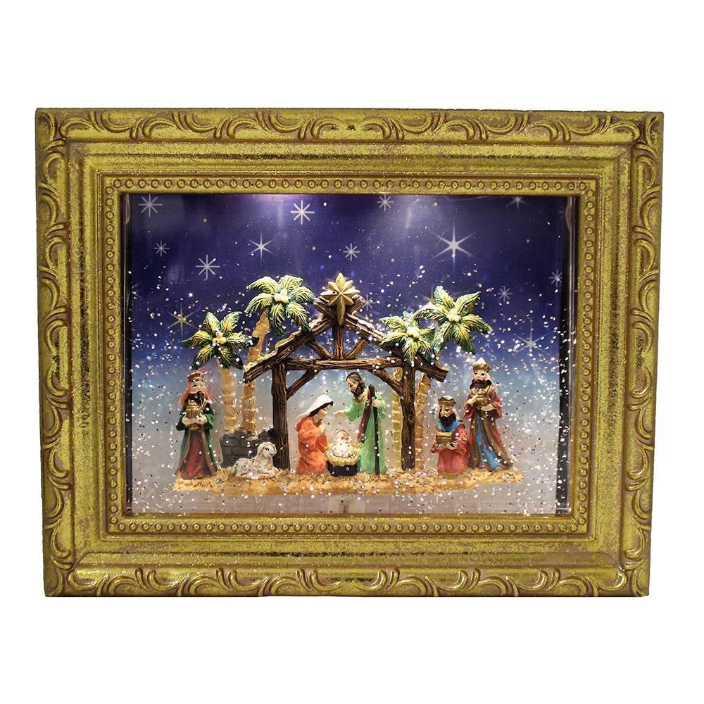 """Image of """"11"""""""" Kurt Adler Battery-Operated LED Nativity Scene Water Photo Frame Framed Wall Art"""""""