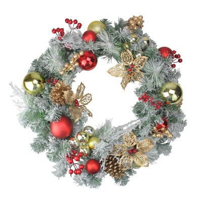"""Northlight 24"""" Unlit Red/Gold Lightly Flocked Artificial Christmas Wreath"""