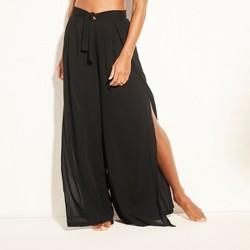 Women's Tie Waist Beach Cover Up Pants - Kona Sol™ Black