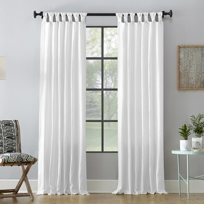 52 x63  Washed Cotton Twist Tab Curtain White - Archaeo
