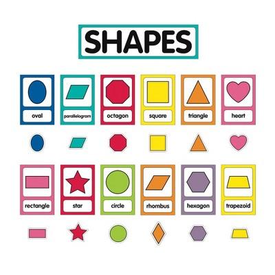 25pc Just Teach Shape Cards Mini Bulletin Board Set - Schoolgirl Style