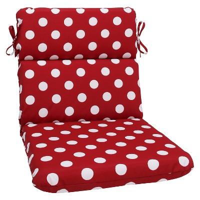 Outdoor Chair Cushion   Red/White Polka Dot