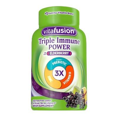 Vitafusion Triple Immune Power 50mg Elderberry Supplement Gummies - 60ct