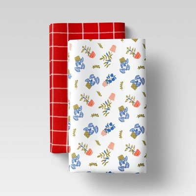 2pk Cotton Plant Print Kitchen Towel Set - Room Essentials™